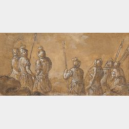 Italian School, 17th Century      Seven Soldiers with Lances