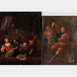 Dutch School, 17th Century Style      Three Unframed Tavern Scenes.
