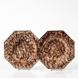Two Brown Staffordshire Tortoiseshell-glazed Soup Plates