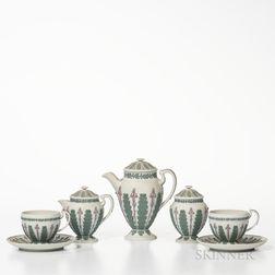 Five-piece Wedgwood Tricolor Jasper Tea Service