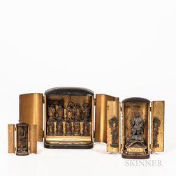 Three Gilt Lacquer Shrines, Zushi