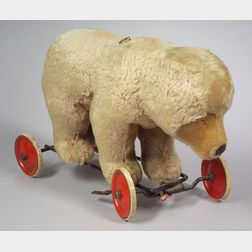 Large Mohair Bear on Wheels