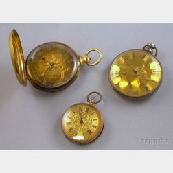 Three Etched-dial Key-wind Pocket Watches