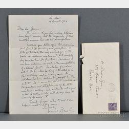 Bernstein, Leonard (1918-1990) Autograph Letter Signed, 18 August 1952.
