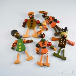 Five Bakelite Articulated Figural Brooches