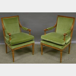 Pair of Louis XVI-style Upholstered Carved Beechwood Fauteuils.
