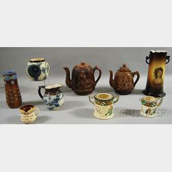 Nine Pieces of Mostly English Pottery