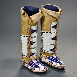 Lakota Woman's Fully Beaded Moccasins with Attached Leggings