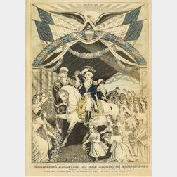 Framed Nathaniel Currier Engraving Washington's Reception by the Ladies, on Passing the Bridge at Trenton