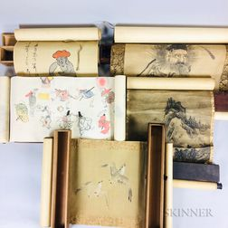 Five Boxed Japanese Shoki Scroll Paintings.     Estimate $1,000-1,500