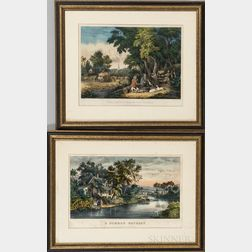 Framed Currier & Ives Hand-colored Lithographs A Summer Retreat   and The Return From The Woods