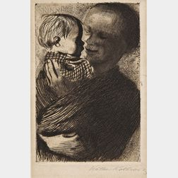 Käthe Kollwitz (German, 1867-1945)      Two Impressions of Mutter mit Kind auf dem Arm