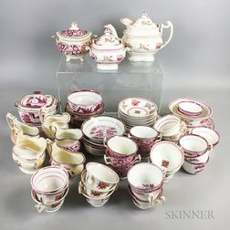 Approximately Seventy-one Pieces of Pink Lustre Ceramic Teaware.     Estimate $200-300
