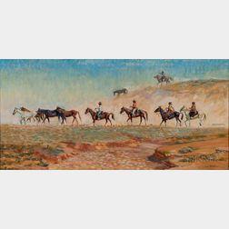 Gary D. Yazzie (Navajo, b. 1946)      Many Horses