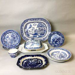 Ten Pieces of Mostly Transfer-decorated Tableware.     Estimate $200-300