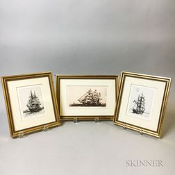 Three Framed Leonard Mersky Etchings of Ships