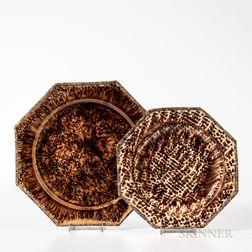 Two Brown Staffordshire Tortoiseshell-glazed Plates
