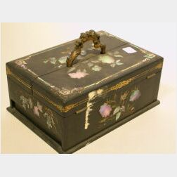 Mother-of-Pearl Inlaid Lacquer Papier Mache Inkstand Box.