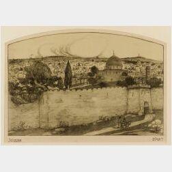 Abel Pann (Israeli 1883-1963)  Lot of Four Graphics: Jerusalem, Yemenite Jew, Young Man, and Jerusalem Jew.