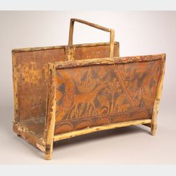 Northeast Pictorial Birch Bark and Wood Log Caddy