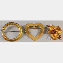 Three Gold Tiffany & Co. Brooches