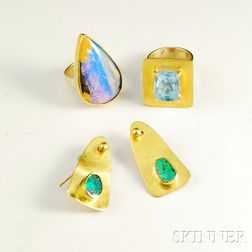 Three 14kt Gold Artist-designed Jewelry Items