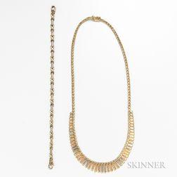 14kt Tricolor Gold Necklace and Bracelet