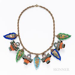 Chinese Enamel and Coral Necklace