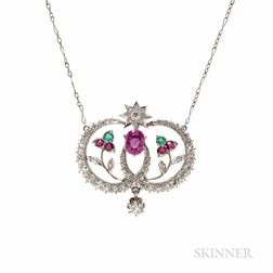 Edwardian Diamond and Gem-set Pendant