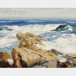 Jay Hall Connaway  (American, 1893-1970)      Rocks and Surf at Monhegan