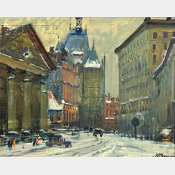 Arthur Clifton Goodwin (American, 1864-1929)      Winter View, Possibly Copley Square