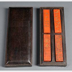 Cinnabar Inksticks in Wood Box