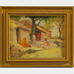 Henry Bayley Snell (American, 1858-1943)      Figures in an Indian Village.