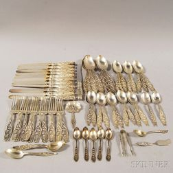 """Whiting """"Lily of the Valley"""" Partial Sterling Silver Flatware Service for Twelve"""