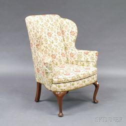 Queen Anne Mahogany Upholstered Easy Chair