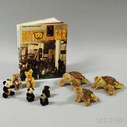 Nine Steiff Animals and a Book on Steiff