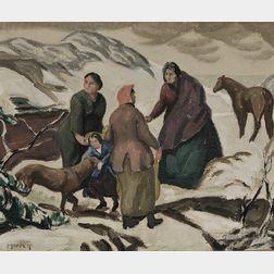 Ross E. Moffett (American, 1888-1971)      Portuguese Women / A Provincetown Winter Scene