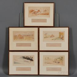 Ernest Montaut, Five Automobile Lithographs