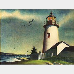 Sandor Bernath (American, 1892-1984)      Lighthouse with Distant Sailboat