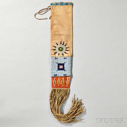 Lakota Beaded Hide, Cloth, and Quill Pipe Bag