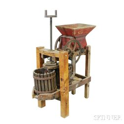 Red-painted Wood and Cast Iron Cider Press
