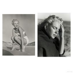 Andre de Dienes (Romanian/American, 1913-1985)      Four Photographs of Marilyn Monroe, including a Portrait on Tobey Beach