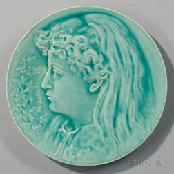 Burmantofts Faience Art Pottery Plate Depicting a Girl