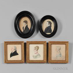 Five Watercolor or Watercolor and Gouache Miniature Profile Portraits