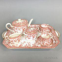 Eight-piece Royal Crown Derby Osborne-pattern Transfer-decorated Tea Set.     Estimate $150-250