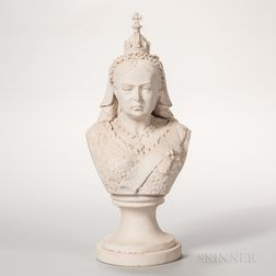 Carved Marble Bust of Queen Victoria