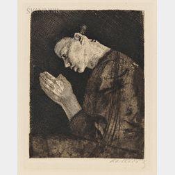 Käthe Kollwitz (German, 1867-1945)      Betendes Mädchen