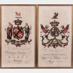 Coats of Arms, Britain, 18th Century, Two Examples.