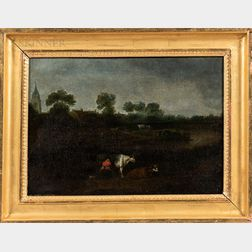 Dutch School, 19th Century      Milking Cows in a Landscape