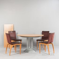 Ligne Roset Dining Set Table and Four Leather Side Chairs